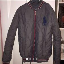 A Genuine  Men's Classic Ralph Lauren Zip Down Bomber Jacket Grey/Wine Size Medi