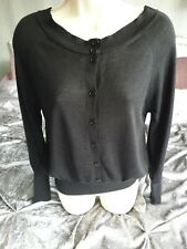 French Connection FCUK black 50% wool cardigan size xs 6/8/10 office work knit