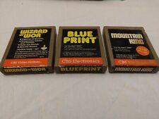 Atari 2600  Cbs Electronics Lot Wizard Of Wor, Blue Print, Mountain King Tested