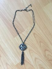 Pewter Necklace With Flower Pendant