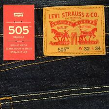 Levis 505 Jeans New Size 32 x 34 DARK BLUE W/FADE Mens Straight Zip Fly Levi's