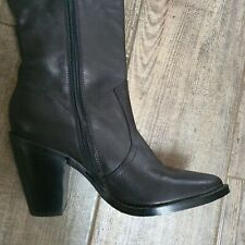 ALDO Soft Black Leather Over The Knee Western style Boots Size 5 BNNB