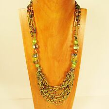 "26"" Green Multi Strand Glass Pearl Shell Chip Handmade Seed Bead Necklace"