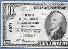 PA  1929  $10  ♚♚WILLIAMSBURG,PENNSYLVANIA♚♚   HARD TO FIND