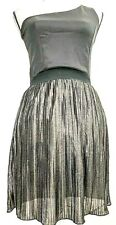Rue 21 Women's Size Medium One Shoulder Dress Pleated Metallic Black