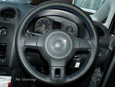 REAL LEATHER STEERING WHEEL COVER SKY BLUE STITCH FOR MITSUBISHI COLT VI 2004-12