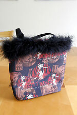 NEW Betty Boop design fabric Handbag with black Feathered Trim Purse Bag Red