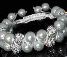 5pcs/lot 10mm Double row resin pearl women Beads Crystal Shamballa Bracelet