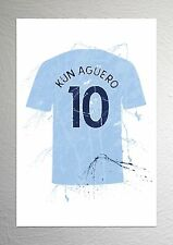 Sergio Kun Aguero - Man City Football Shirt Art - Splash Effect - A4 Size