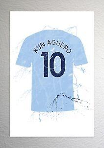 Sergio Kun Aguero - Man City Football Shirt Art - Splash Effect - A4 Size