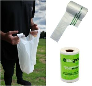 Compostable Bin Liners BioGone 10 Litre with Carry Handles  | 25 or 100 Bags