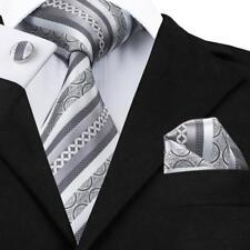 USA Grey Stripes Silver Mens Tie 100% Silk Necktie Set Wedding Jacquard Set B589