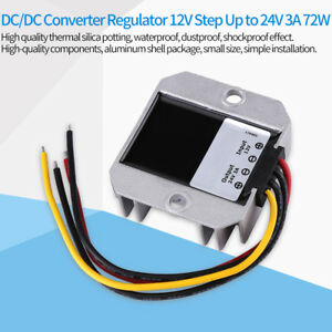 Waterproof Converter DC12V to 24V 3A 72W Step-Up Boost Power Supply Module Car