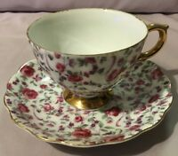 Teacup and Saucer - Rose Toss and Gold Ornate Floral - Bone China - Unmarked