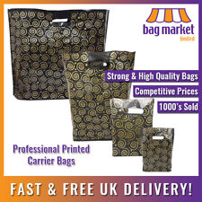 Strong Black & Gold Printed Carrier Bags | Fashion/Gift/Boutique/Jewellery/Party