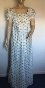 Regency Dress, Jane Austen, 100%Cotton Adjustable Empire Size 12/14, Free UK P&P