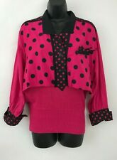 Vintage 80s Sideffects Black & Pink Polka Dot Retro Sweater Top Womens Sz M