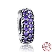 European Purple CZ Spacer Charm Bead 925 Sterling Silver Pendant Fits Bracelet