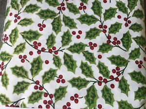 Christmas holly jolly metallic traditional with gold Cotton Fabric