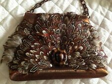 Lorren Bell Copper Feather Bag Tortoise Shell Link Chain Purse 7 x 5.5 x 1.5