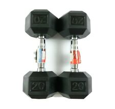 NEW Weider 20lb Dumbbells Pair Rubber Coated Hex Set 40lb Total Free Shipping