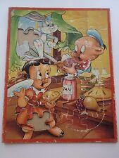Vintage Warner Bros Cartoons Jaymar Frame Tray Puzzle Bugs Bunny Piglets Jam