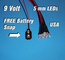 10 FLASHING LEDS 5mm PRE WIRED 9 VOLT ~ BLUE FLASH ~ 9V BLINK PREWIRED