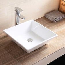Sink Square Ceramic Vessel Vanity Basin Bowl Pop Up Drain Bathroom