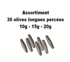 30 olives longues percées mix 10g-15g-20g << transport gratuit >>