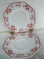 """(2) Independence Ironstone Interpace Japan Pink Floral 6.1/4"""" Saucer Plates"""