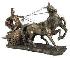 """Large GLADIATOR  Roman Chariot and Warrior 26"""" Statue Sculpture Figurine / NEW"""