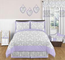 Sweet Jojo Designs Lavender and Gray Damask Girl Kid Teen Full Queen Bedding Set