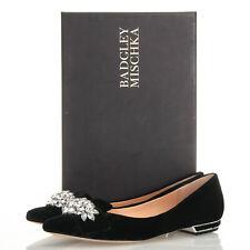 Badgley Mischka Valeria Black Velvet Embellished Flats - Size 6 M