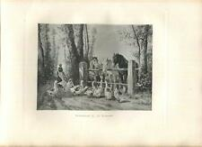 New listing ANTIQUE TRIO OF HAPPY HORSES CURIOUS GEESE FARM WOMAN TREES WOOD FENCE ART PRINT