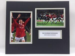 RARE Ole Gunnar Solskjaer Manchester United Signed Photo Display + COA 1999