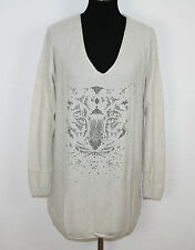 ESPRIT Oversize Pullover m. Angora beige Nieten Tiger Motiv Gr. L NEU UVP 69,99€