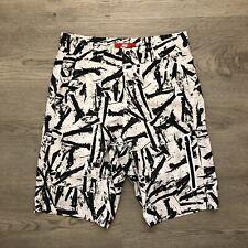 Nike Mens White/Black Ink Art Print Board Shorts Size 28 Lined Pocket
