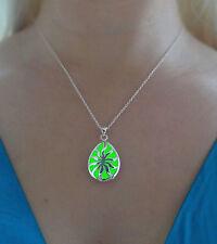 Green Glowing Drop Metal Pendant Glow in the Dark Jewelry Gift Necklace