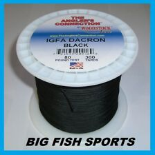 WOODSTOCK BRAIDED DACRON Fishing Line Black Color 80lb-300yd NEW! FREE USA SHIP!