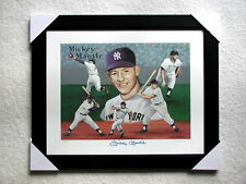 MICKEY MANTLE SIGNED 16 X 20 SIGNED LITHOGRAPH FRAMED w/ COA AUTOGRAPHED PHOTO