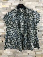Fat Face Ladies Size 10 Green Floral Ditsy Wrap Tie Top Blouse