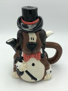 Vintage Teapot Brown Dog With Top Hat & Baton Red Polka Dot Bow Tie With Lid