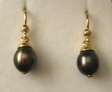 GENUINE 9K 9ct SOLID Gold  NATURAL BLACK PEARL DROP DANGLE Earrings