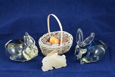 Easter Lot Stone 4 Eggs 1 Basket 1 Stone Bunny 2 Paper Weight Hand Blown Bunnies