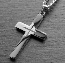 Kettenanhänger Kreuz Edelstahl Kreuzkette silber Anhänger Panzerkette Halskette