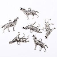 10x Tibetan Silver 3D Howling Wolf Charms Pendant Fit DIY Bracelet 25*12mm