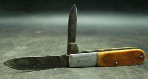 VINTAGE BARLOW JAPAN BONE HANDLE 2 BLADE FOLDING POCKET KNIFE (E1)