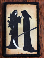Grim Reaper AR15 Morale Patch Military Tactical Badge USA Flag Hook Skull