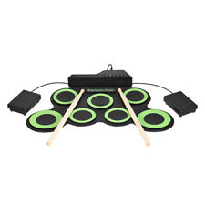7-Pad Foldable Electronic Drum Set Electric Roll up Drum Pads w/ Drumsticks I7D6