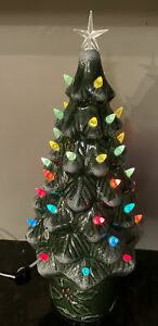 Vintage 1970's Ceramic Ornament Christmas Tree Lighted Lamp 19 inch  with Base